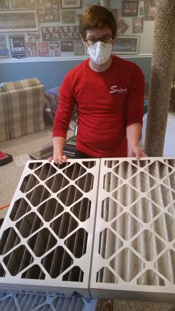 The air filter on the left was ONLY THREE DAYS OLD at the time of this Aeroseal Duct Sealing job!