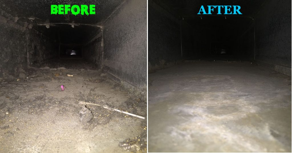Dirty air ducts on the left side, clean air ducts on the right side. A before and after picture.