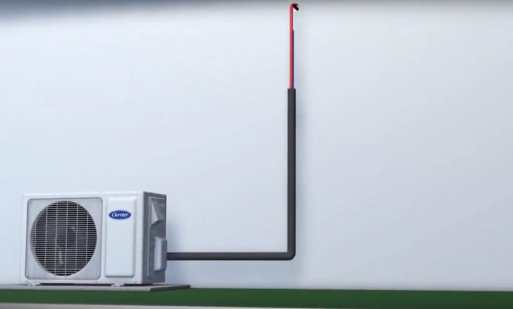 Dcutless heat pump graphic with single refrigerant pipe shows easy no mess installation