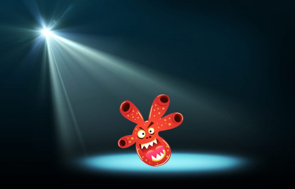 Abstract image of concert lighting against a dark background with cartoon bacteria character